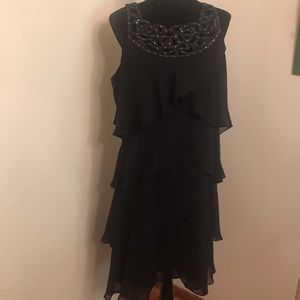 S. L. Fashions Black Short Evening Dress, Size 16